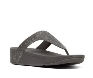 FitFlop Womens LOTTIE Glitzy Toe-Thongs Pewter Sandals